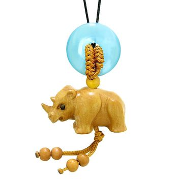 Baby Rhino Cute Good Luck Car Charm or Home Decor Blue Simulated Cats Eye Lucky Coin Donut Magic Amulet