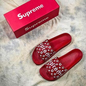 Supreme x LV Red Beach Slippers Flip Flop - Best Online Sale