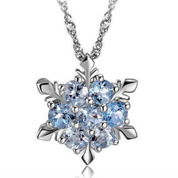 Frozen Inspired Blue Crystal Snowflake Flower Silver Pendant & Necklace - FREE SHIPPING