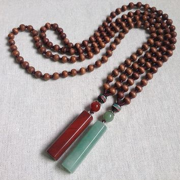 Wood Beads Stone Pendant Necklace
