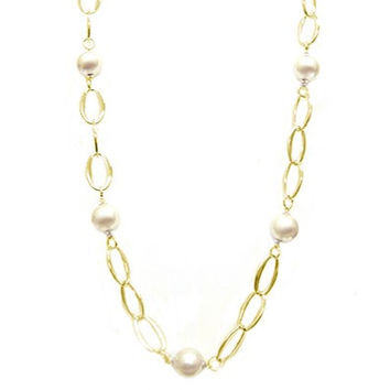 Gold Chic Oval Linked Large Chain With Pearl Shiny Long Necklace