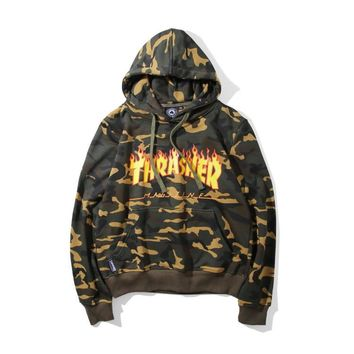 Boys & Men Thrasher Camouflage Print Top Sweater Pullover Hoodie