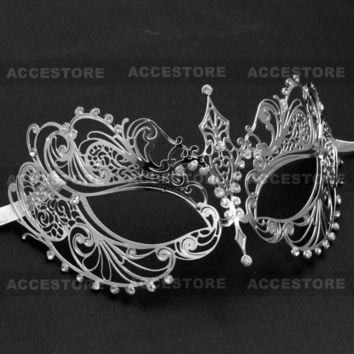 Silver Rhinestones Charming Princess Venetian Phantom of Opera Masquerade Party Halloween Party Ball Eye Mask