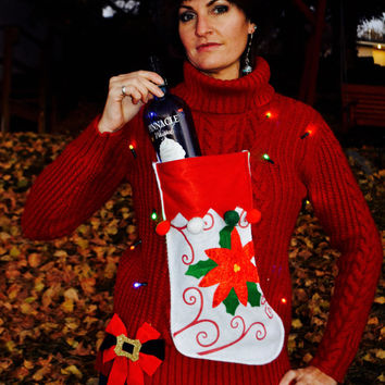 liquor or Wine Holder Ugly Christmas Sweater, Light up, Women's Large, stocking, alcohol, wine, novelty, wine holder, party sweater