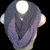 INFINITY SCARF, Chunky Knit, Circle Cowl Scarf For Winter, Purple Scarf, Knit Snood