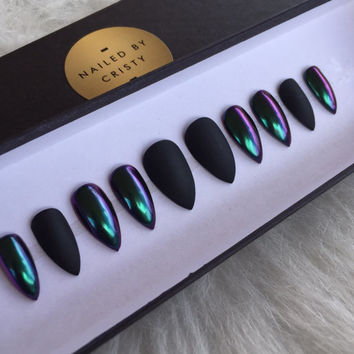 Duo Chrome And Matte Black Press On Nails | Any Shape or Size | Color Shifting Chrome Powder