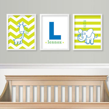 Baby Boy Nursery Wall Art - Baby Monogram - Giraffe Elephant Nursery Art Green & Blue Nursery Chevron SET of 3 - Custom Nursery Prints