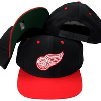 Detroit Red Wings Black/Red Two Tone Snapback Adjustable Plastic Snap Back Hat / Cap