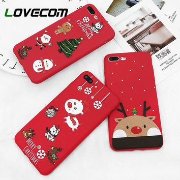 LOVECOM Phone Case For iPhone 6 6s 7 8 Plus X New Year Red Santa Claus Merry Christmas Tree Cute Phone Back Cover Cases Gifts