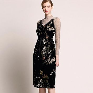 Velvet Dress Women Two-Piece Set 20% Silk Blended Printed Long Sleeves Sashes Elegant Style Party Dresses Ladies 2018 New Design