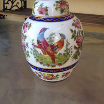Chinese Ginger Jar, Chinoiserie Jar, Birds Ginger Jar, Oriental Jar, Asian Floral Jar, Porcelain Lidded Ginger Jar, Hand Painted Chinese Jar