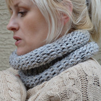 Handknit cowl neckwarmer gray marble by socksandmittens on Etsy