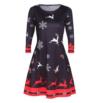 Christmas Santa Skater Ladies Snowman Swing Dress Womens Xmas High Quality Women Fashion