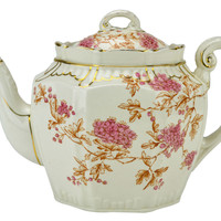 Large Octagonal Teapot in Pink and Gold Antique English 19th Century