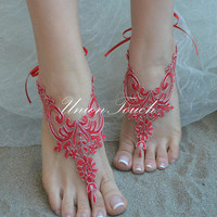 Red silver lace barefoot sandals, beach wedding barefoot sandals, lace shoes, belly dance, bridesmaid gift, sandales rouges, beach shoes
