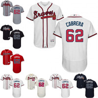 New arrvial Atlanta Braves Jersey Mens 62 Maurico Cabrera Navy Blue Cool Base MLB Replica Jersey Stitched size S-4XL