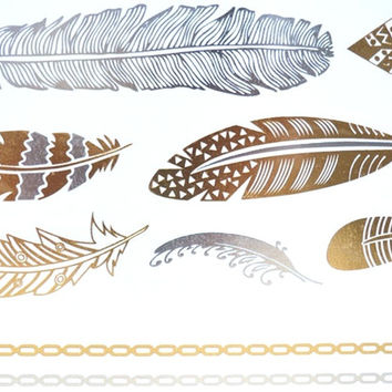 Gold / Silver Metallic Temporary Tattoos code 13