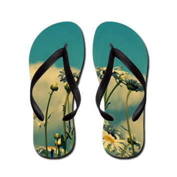 Beautiful Little Fools - Summertime Flip Flops Slippers Aloha Thongs -summer sandals, daisies, daisy, wildflowers, nature