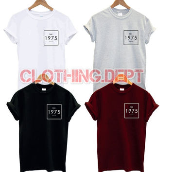the 1975 box pocket logo t shirt band music facedown tour punk rock band concert group matt healy all colours