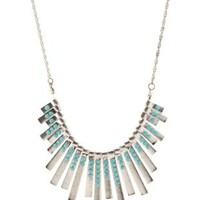 Silver Turquoise & Metal Bar Collar Necklace by Charlotte Russe