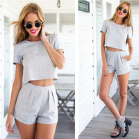 Gray Short Sleeve Back Cut Out Button Crop Top with Short