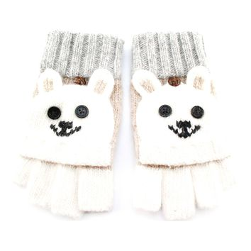 Teddy Bear Animal Themed Wool Knit Fingerless Popover Mitten Gloves in White