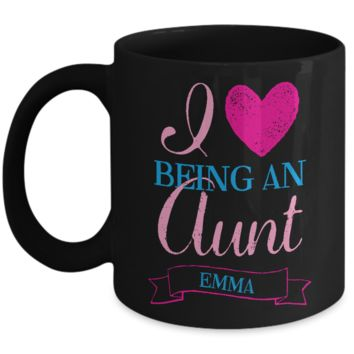 Aunt Mug Gift - Christmas 2016 Holidays Gift for Auntie - 11oz Black Ceramic Aunt Cup with Inspiration for Cocoa, Coffee, Tea & Cookies!