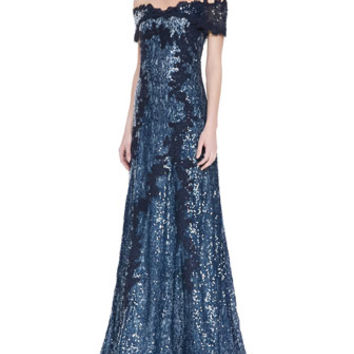 Rene Ruiz Off-Shoulder Metallic Lace Gown, Navy/White