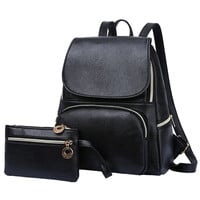 Black Leather Backpack and Matching Wallet Clutch