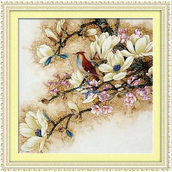 Beautiful Magnolia Flower DMC Cross Stitch Kit Crafts Accurate Printed Embroidery DIY Handmade Needle Work Home Decor