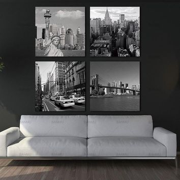 Canvas Painting Wall Art Picture 4 Panel New York City Landmark Painting Print on Canvas Modern Giclee Artwork Painting no frame