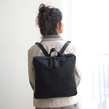 BLACK leather backpack, school backpack, backpack for women, leather backpack large, leather school bag, black leather bag, Made to order