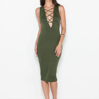 Out We Go Lace-Up Bodycon Dress