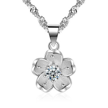 Hot sell fashion Cherry blossoms shiny crystal female 925 sterling silver ladies`pendant necklaces jewelry gift cheap women