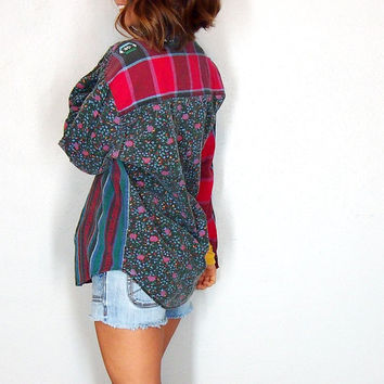 Vintage Flannel, Floral and Plaid Button Up 90s Grunge 100% Cotton Comfy Medium Oversize
