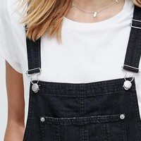 ASOS Denim Shorts Overall in Washed Black With Raw Hem at asos.com