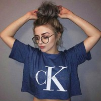 Calvin klein jeans New fashion hot sexy letters printing female sweater pullovers Blue tee shirt