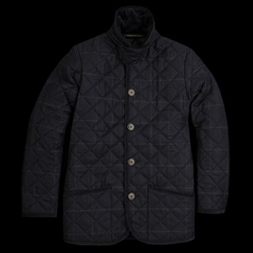 UNIONMADE - Mackintosh - Quilted Windowpane Waverly Coat in Navy and Green
