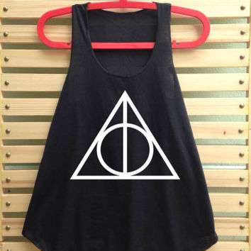 Black Deathly hallows shirt tank top vintage singlet harry potter clothing vest tee tunic sleeveless - size S M