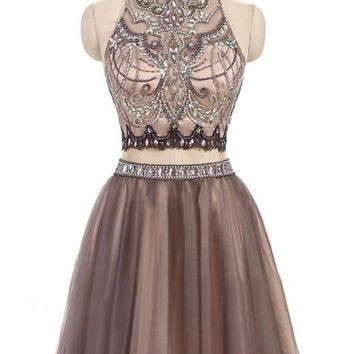 Gorgeous Beading Two Piece Prom Dress,Junior Short Tulle Open Back Homecoming Dresses OK481