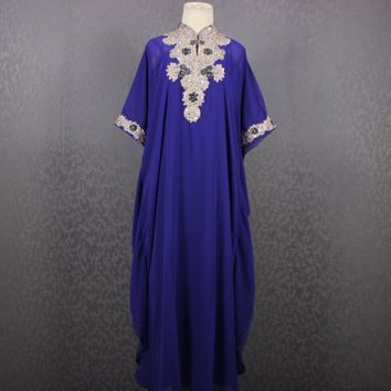 Beautiful Purple Caftan Sequin Dress Embroidery Chiffon Wedding Summer Party Maxi Kaftan Dress