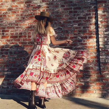 SZMXSS 2016 New Women Summer Dress Plus Size Vintage Autumn Long Maxi Dresses Off Shoulder Bohemian Dress Vestidos De Fiesta