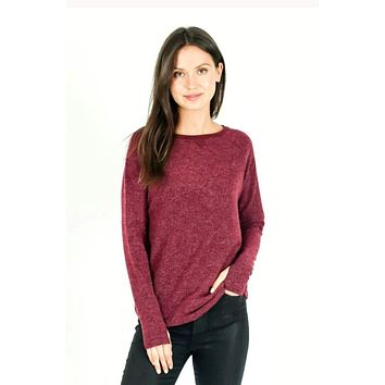 Hacci Thumbhole Top - Burgundy