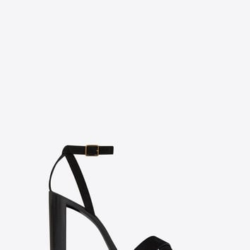 tanger 105 sandal with crisscross front in black suede