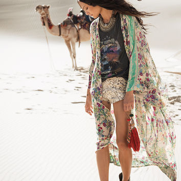 Gypsy Queen Maxi Kimono - Cream Floral | Spell & the Gypsy Collective