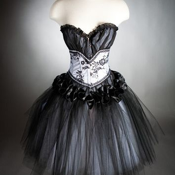 Custom size black and white tulle Burlesque Corset Prom dress