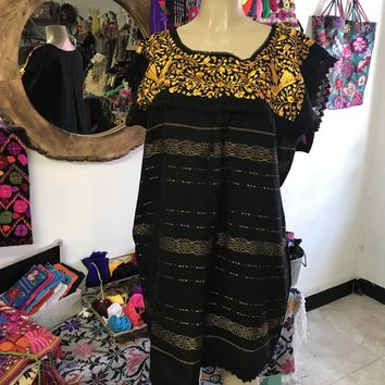 Oaxaca Black Short Loomed Dress with Yellow Embroidery