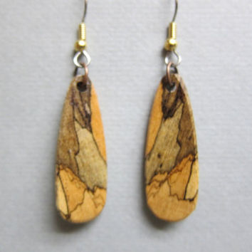 Beautiful Spalted Tamarind small Exotic Wood drop Dangle Earrings ExoticWoodJewelryAnd handcrafted ecofriendly
