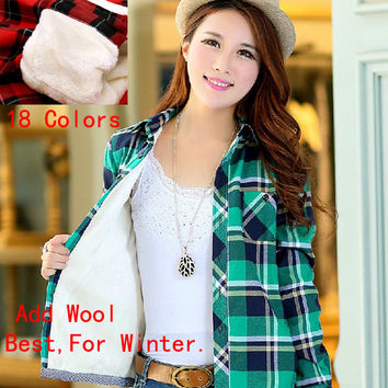 Winter Shirt For Women Plus size female plaid shirt women button down casual lapel add wool shirt plaids flannel shirt