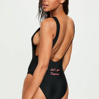 Missguided - Black Slogan Back High Leg Swimsuit